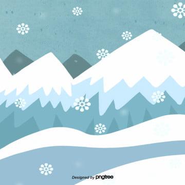卡通冬季下雪的雪山場景 , 下雪, 冬季, 卡通 背景圖片