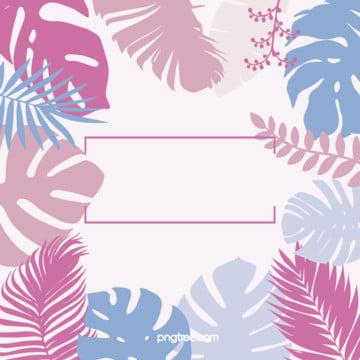 夏日粉色棕櫚葉元素熱帶植物風格背景 , 元素, 冷色, 葉子 背景圖片