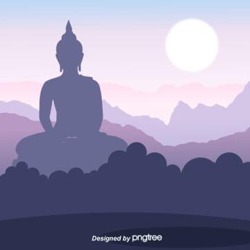 Thai Style Buddha Sitting in Mountain Background , Buddha Statue, Circular, Sunlight Background image