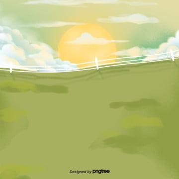 सूरज उगता है  हरे लॉन खेत , सिल्हूट, बाड़, सूर्यास्त पृष्ठभूमि छवि