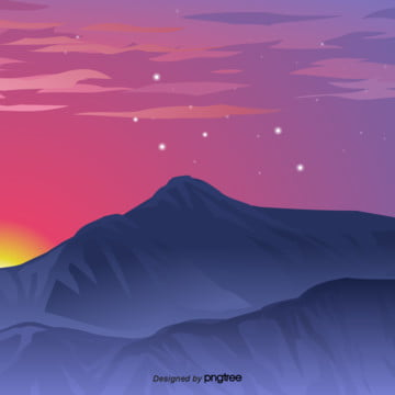 the sunset set sets in the west and the stars begin to shine in the night , Silhouette, Setting Sun, The Dim Light Of Night Background image