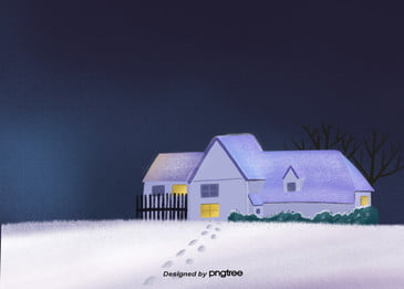 冬季建築房屋柵欄脚印雪地, 冬季, 夜空, 寒冬 背景圖片