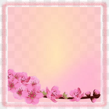 pink square frame with watercolor flowers , Frame, Pink, Square Background image