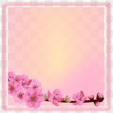 Khung vuông hồng với hoa màu nước Nền Hoa Khung Hình Nền