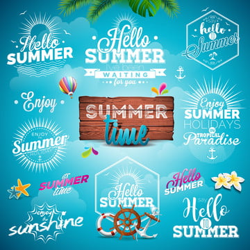 vektor musim panas seni ilustrasi set dengan tanda tanda dan simbol , Abstrak, Sauh, Seni imej latar belakang
