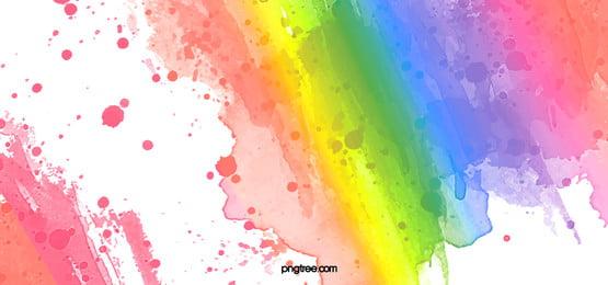 彩虹色水彩喷溅笔刷纹理背景, 喷溅, 彩虹, 彩虹背景 पृष्ठभूमि छवि
