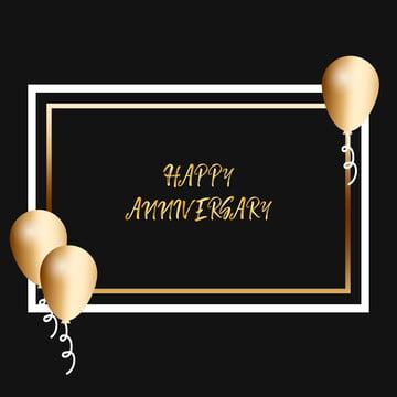 帶逼真金色氣球的周年賀卡 , 三維, 空氣, 周年紀念 背景圖片