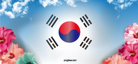 korea langit biru bunga raya latar belakang, Bendera, Kebangsaan Korea, Tai Chi Bendera imej latar belakang