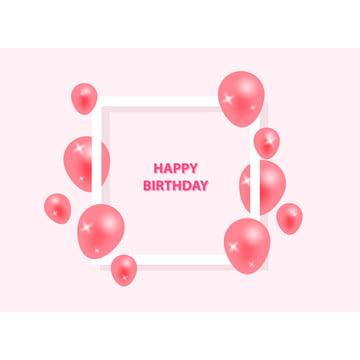 जन्मदिन की बधाई के साथ फ्रेम और उड़ान गुलाबी गुब्बारा , 3 डी, एयर, शादी की सालगिरह पृष्ठभूमि छवि