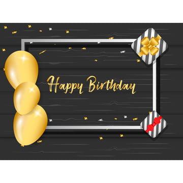 帶金色氣球和框架中的禮品盒的生日問候 , 三維, 空氣, 周年紀念 背景圖片