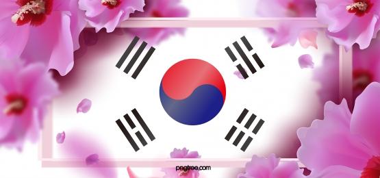 creative background of hibiscus hibiscus in korea, National Flag, Korean People, Taegukgi Background image