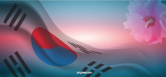 gradual change of korean flag, Taegukgi, Loyalty Day, Hibiscus Flowers Background image