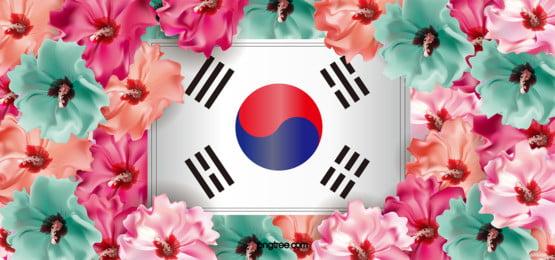 a criação de fundo de flor de hibisco multicolorida, Coreia Do Sul, A Nação, Flores Imagem de fundo