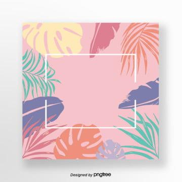 粉色夏季棕桐葉邊框 , 葉片, 夏季, 樹葉 背景圖片