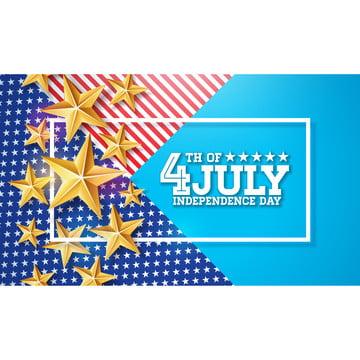 7月4日美國傳染媒介例證的獨立日。 7月四日美國全國慶祝設計與星星和排版字母抽象背景橫幅 賀卡 邀請或假日海報上 , 4, 七月, 獨立 背景圖片