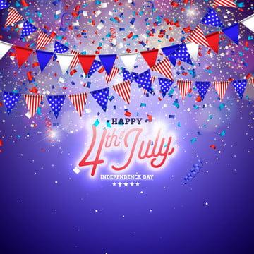 जुलाई स्वतंत्रता दिवस के 4 संयुक्त राज्य अमेरिका के वेक्टर चित्रण जुलाई के चौथे अमेरिकी राष्ट्रीय उत्सव डिजाइन के साथ झंडा और सितारों पर नीले और सफेद कंफ़ेद्दी के लिए पृष्ठभूमि बैनर ग्रीटिंग कार्ड निमंत्रण या छुट्टी पोस्टर , 3 डी, चौथा, सार पृष्ठभूमि छवि