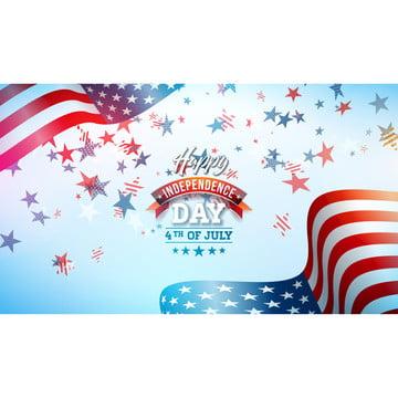 7月4日美國傳染媒介例證的獨立日。七月四日美國國家慶祝活動設計與國旗和星星在藍色和白色的五彩紙屑背景橫幅 賀卡 邀請或假日海報 , 4, 七月, 獨立 背景圖片