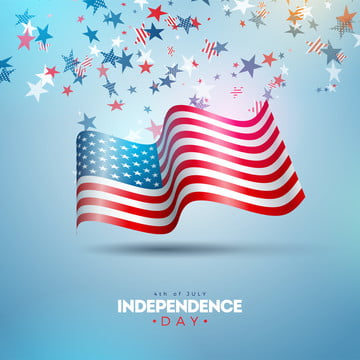 4th of july independence day of the usa vector illustration  fourth of july american national celebration design with flag and stars on blue and white confetti background for banner greeting card invitation or holiday poster , 4th, July, Independence Background image