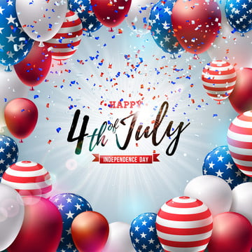 4th of july independence day of the usa vector illustration  fourth of july american national celebration design with colorful air balloon and typography letter on falling confetti background for banner  greeting card  invitation or holiday poster , 4th, July, Independence Background image