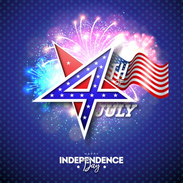 4th of july independence day of the usa vector illustration with 4 number in star symbol  fourth of july national celebration design with american flag pattern on fireworks background for banner greeting card invitation or holiday poster , 4th, July, Independence Background image