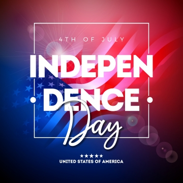 4th of july independence day of the usa vector illustration wth american flag and typography letter on shiny background  fourth of july national celebration design with for banner greeting card invitation or holiday poster , Independence, July, 4th Background image