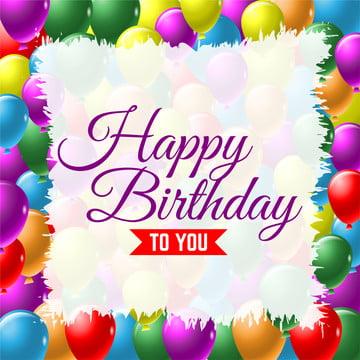 जन्मदिन मुबारक हो ग्रीटिंग कार्ड वेक्टर पृष्ठभूमि के साथ रंगीन गुब्बारे , सार, शादी की सालगिरह, कला पृष्ठभूमि छवि