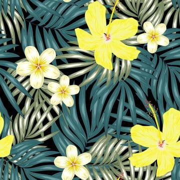 ハイビスカスとプルメリアの花と熱帯の葉のシームレスなパターン , 抄録, アロハ, アート 背景画像