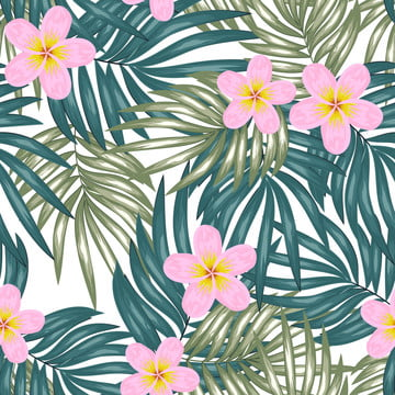 tropical leaf seamless pattern with plumeria flower , Pattern, Tropical, Seamless Background image
