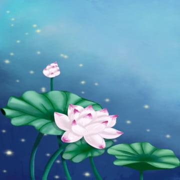 夏の夜の月の下の蓮池 , 背景, フラワー, ロータス 背景画像