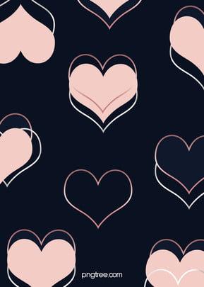 베이직한 로즈 골드 하트 하트 하트 겹쳐 창의적인 배경 , 북유럽풍, 귀엽다, 도형 중첩 배경 이미지