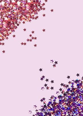 パーティーカラーの星くずの背景, 五色の紙くず, 明るい, カラー 背景画像