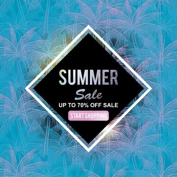 帶有流行棕櫚葉背景的夏季銷售橫幅範本 , 背景, 橫幅, 海灘 背景圖片