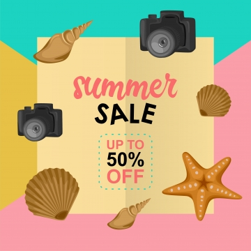 summer sale design template with pastel background and beach element decoration , Poster, Summer, Background Background image