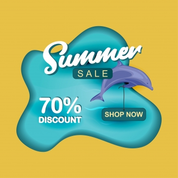 Summer Sale Paper Cut Design With, Ocean, Summer, Banner, Background image