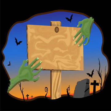 zombie hand holding wooden board up from the grave in the cemetery at night   vector illustration , Halloween, Zombie, Hand Background image