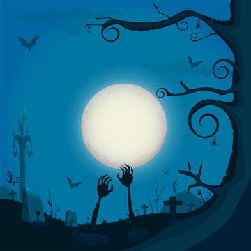 हेलोवीन रात पृष्ठभूमि के साथ पूरा चाँद वेक्टर चित्रण । ज़ोंबी हाथ जमीन पर , शरद ऋतु, पृष्ठभूमि, बल्ले पृष्ठभूमि छवि