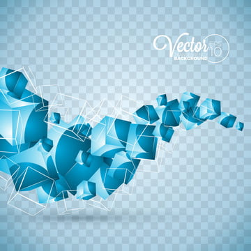 abstract vector blue waves cubes design on transparent background , Background, Light, Abstract Background image