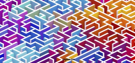 रंग 3 डी तीन आयामी भूलभुलैया पृष्ठभूमि, 3 डी, रचनात्मक, रचनात्मक पैटर्न पृष्ठभूमि छवि