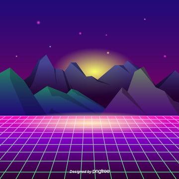 カラーネオンの山のグリッドの背景 , 太陽, 山, カラー 背景画像