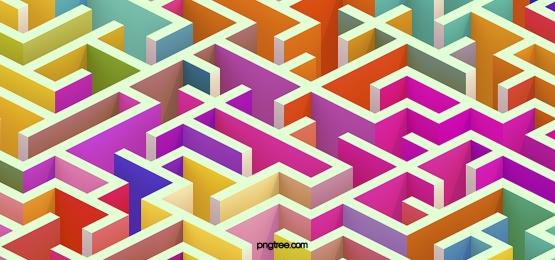 다채로운 3d 미로 배경, 3 D., 오색, 밝다 배경 이미지