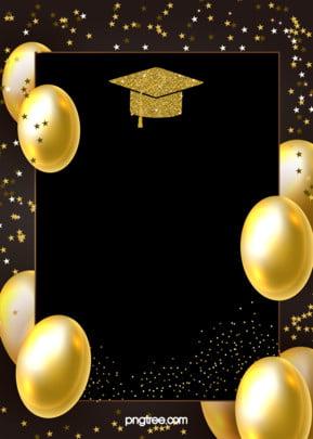 金色の卒業帽の背景 , 星, 卒業する, 風船 背景画像