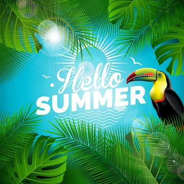 गर्मी की छुट्टी में उष्णकटिबंधीय पौधों नीले रंग की पृष्ठभूमि पर , 3 डी, एयर, कला पृष्ठभूमि छवि