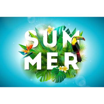 夏のイラストと熱帯鳥の背景にツバメの鳥とオウムの花 , 動物, アート, 背景 背景画像