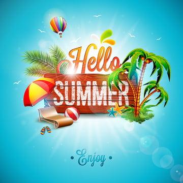 벡터 안녕하세요 여름 휴가 서체 , 3차원, 공기, 닻 배경 이미지