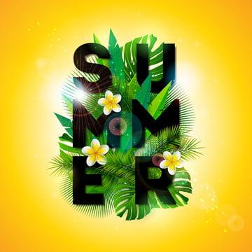 수첩 플라이어 초대 포스터 또는 카드 벡터 여름 휴가 활자 컷 이국 잎  꽃 템플릿 배경 열대 식물은 디자인 깃발 , 소리, 예술, 배경 배경 이미지