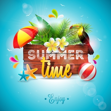 向量暑假假期排版 , 三維, 空氣, 藝術 背景圖片