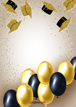 Golden Background of Graduation Cap Stereo Texture Balloon , Hat, Graduation, Balloon Background image