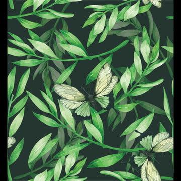 màu xanh lá cây không xoắn ốc hoa lá nhiệt đới vẽ tay nền bằng mực nước , Abstract, Động Vật, Nghệ Thuật. Ảnh nền