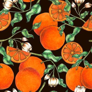 水彩画で描いたオレンジのシームレスなパターンハンド 植物学 枝 シトラス 背景画像