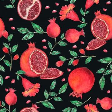 水彩画で描かれたザクロシームレスなパターンハンド アップル アート 秋 背景画像